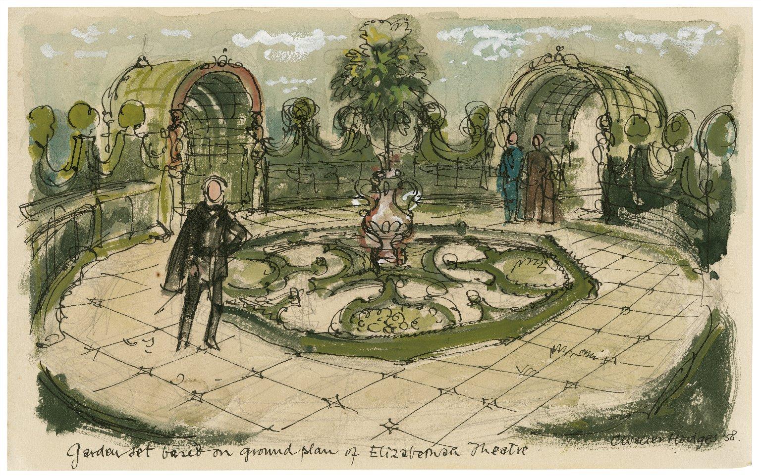Hamlet, garden setting based on plan of Elizabethan theater