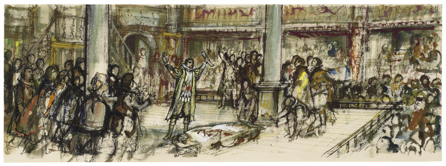 Julius Caesar at the Globe, Mark Antony's oration (illustration for: Shakespeare's Theatre, 1964)
