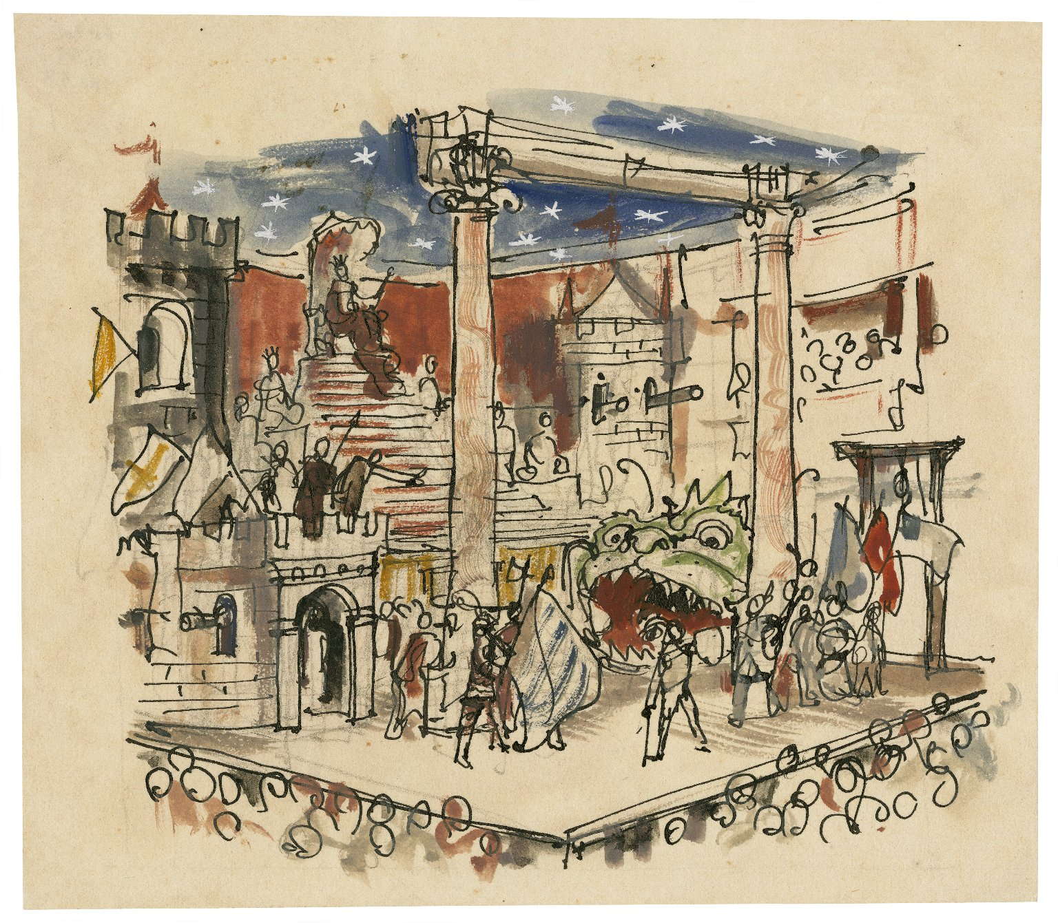 Elizabethan stage in action, from description in the English Wagner Book of 1594