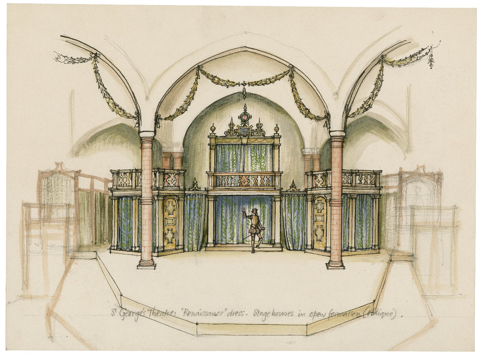 "St. Georges Theatre. Stage-houses in open formation ""Renaissance dress"""
