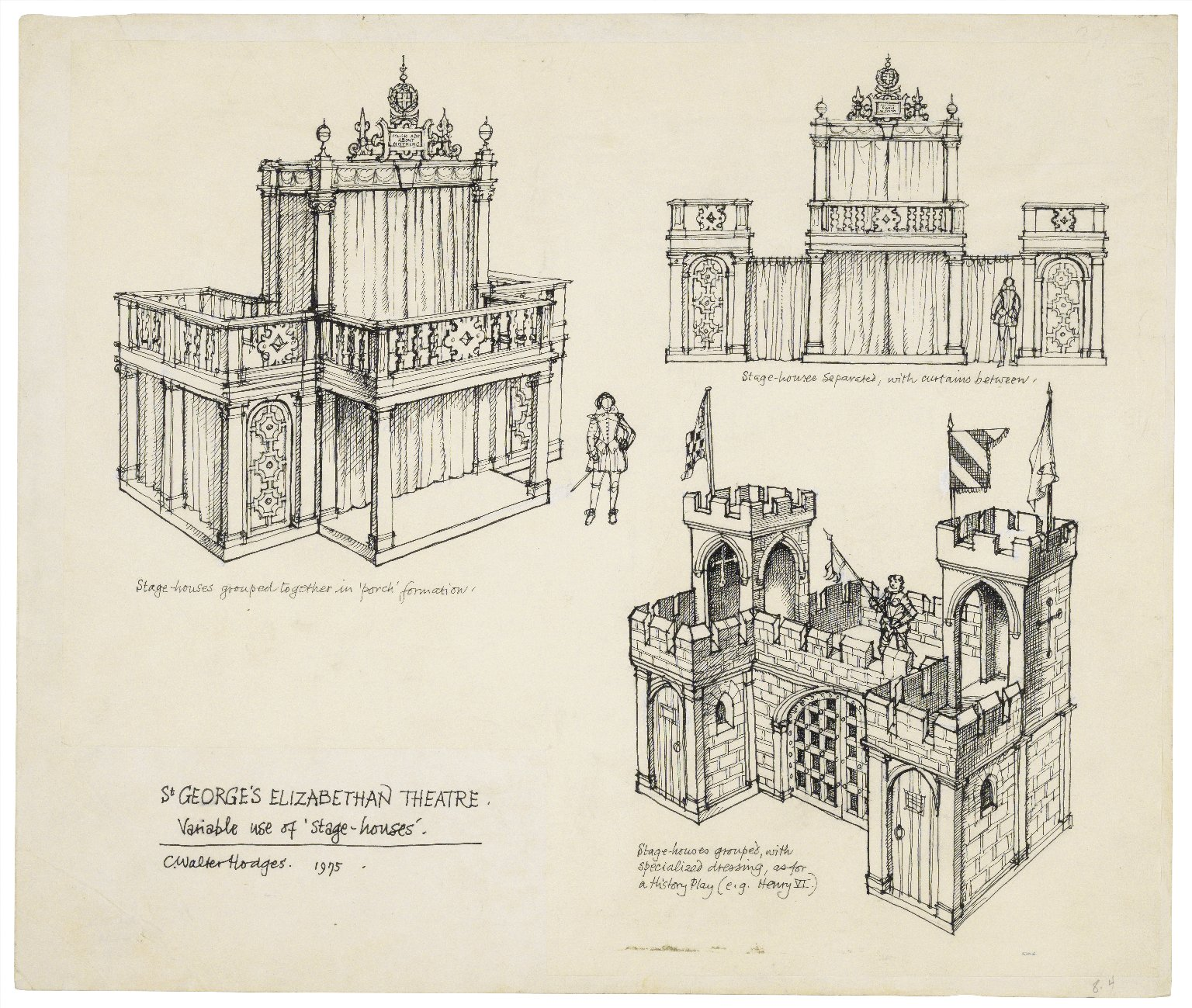 St. Georges Theatre. Three views of stage-houses in different formations