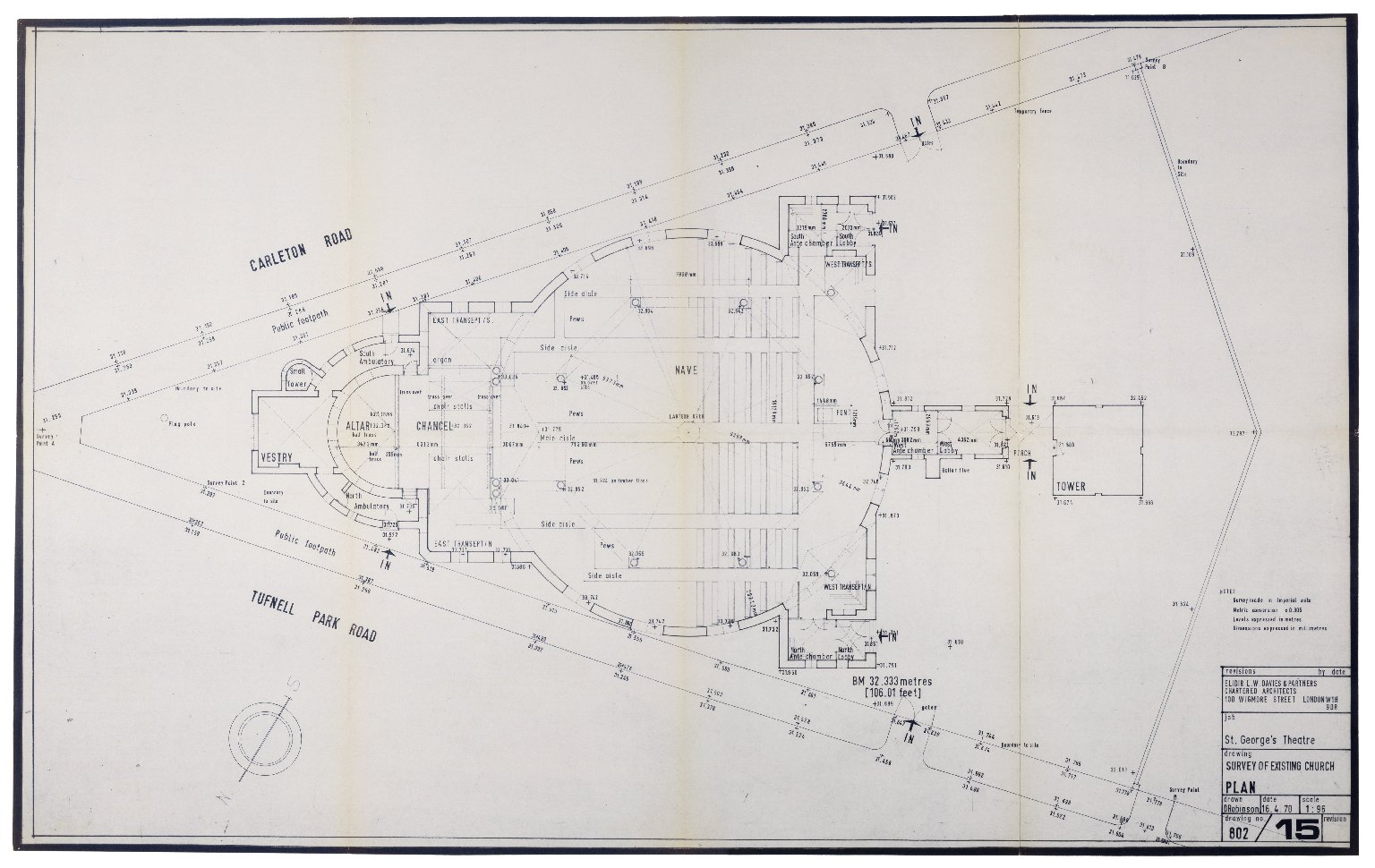 Survey of existing church (St. Georges), Apr. 1970, Davies & Partners (plan)