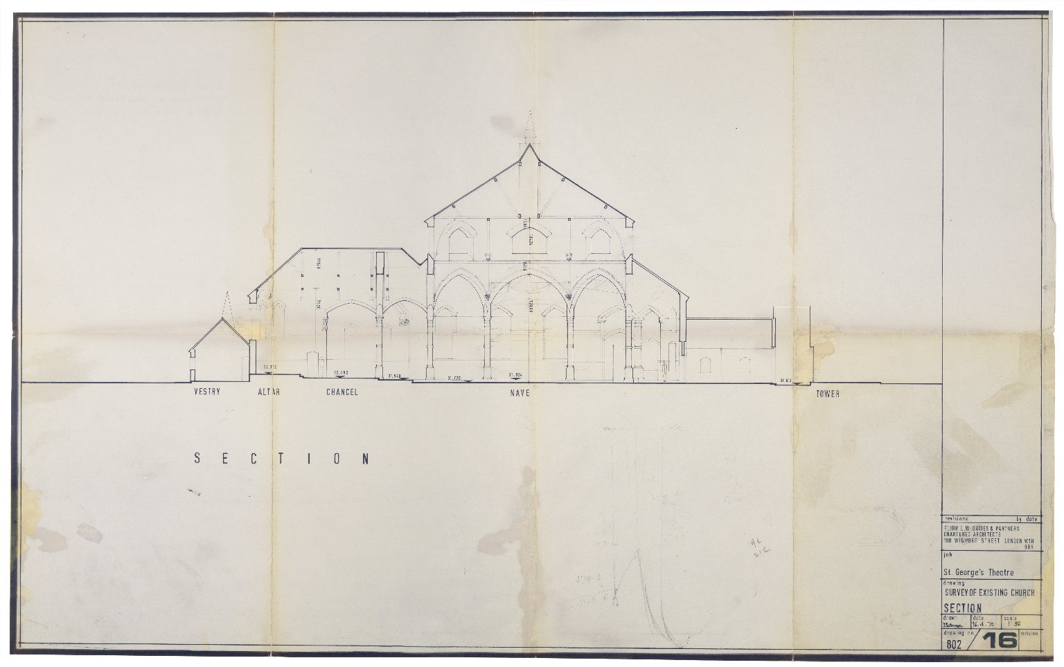 Survey of existing church (St. Georges), Apr. 1970, Davies & Partners (section)