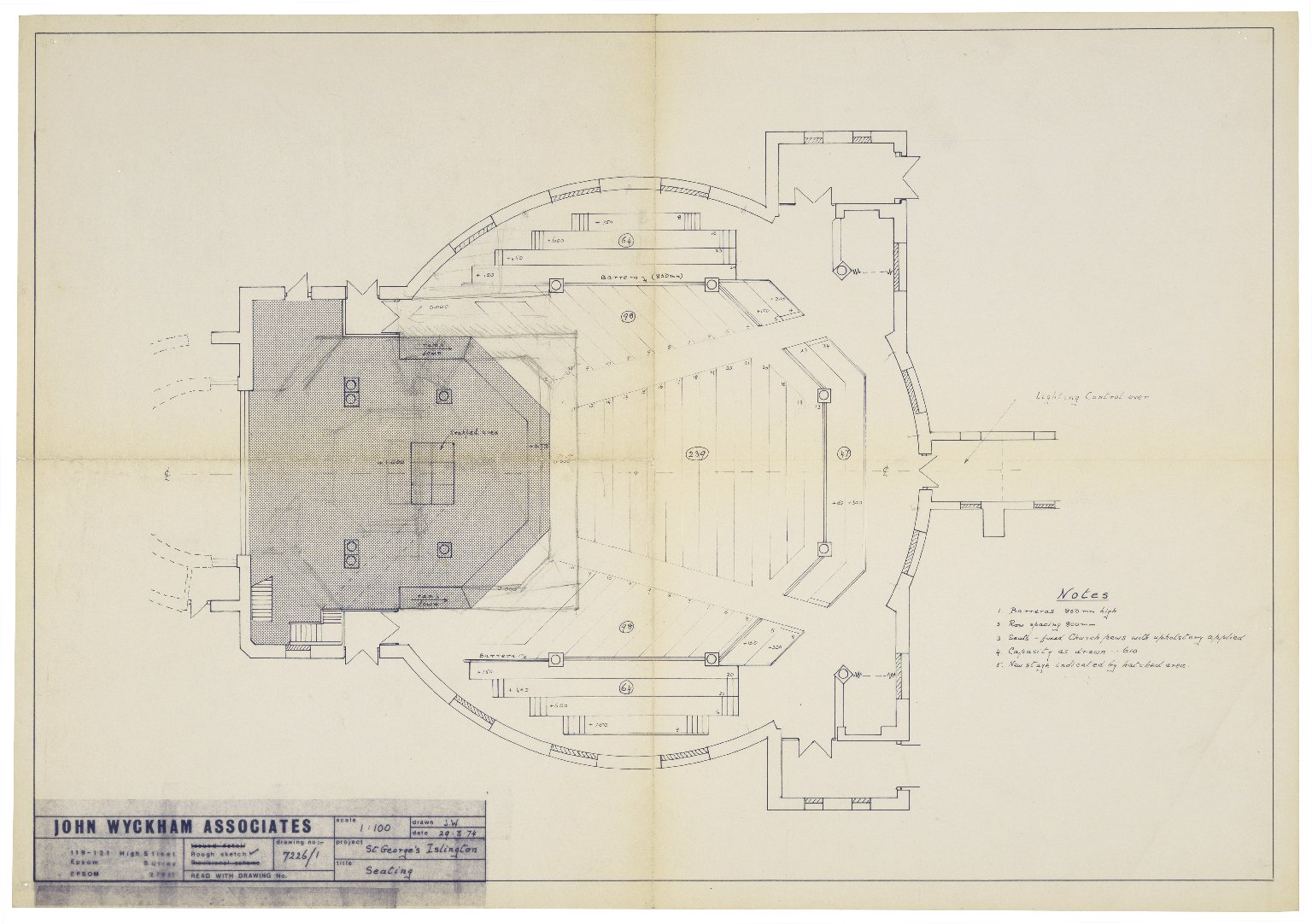 St. Georges Theatre, seating plan, Wyckham Assoc.
