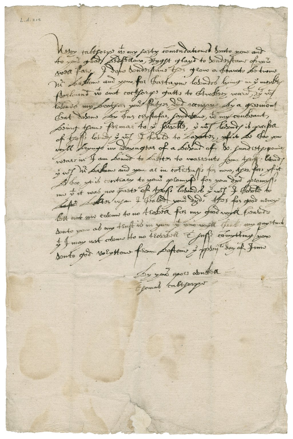 Letter from Thomas Calthorpe to James Calthorpe
