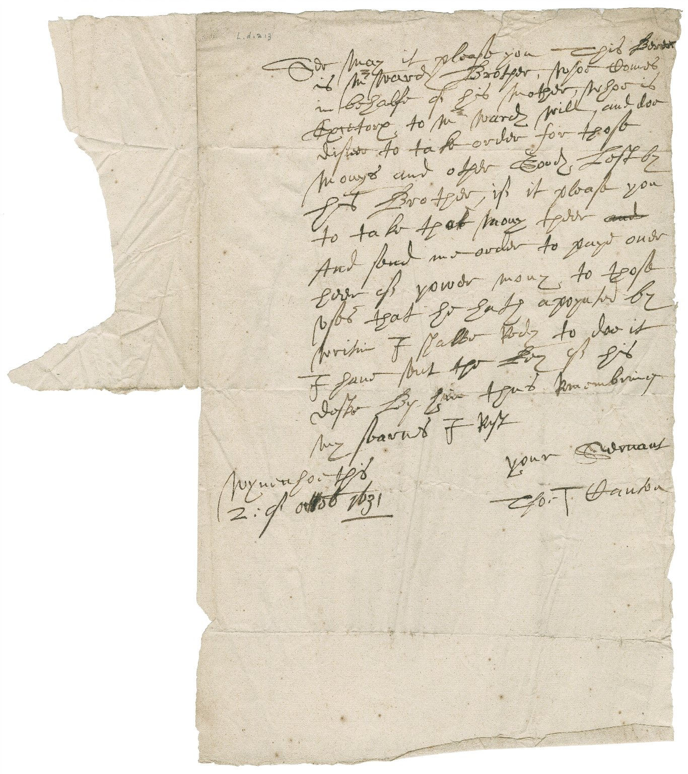 Letter from Thomas Canton to [Roger Townshend, 1st bart]