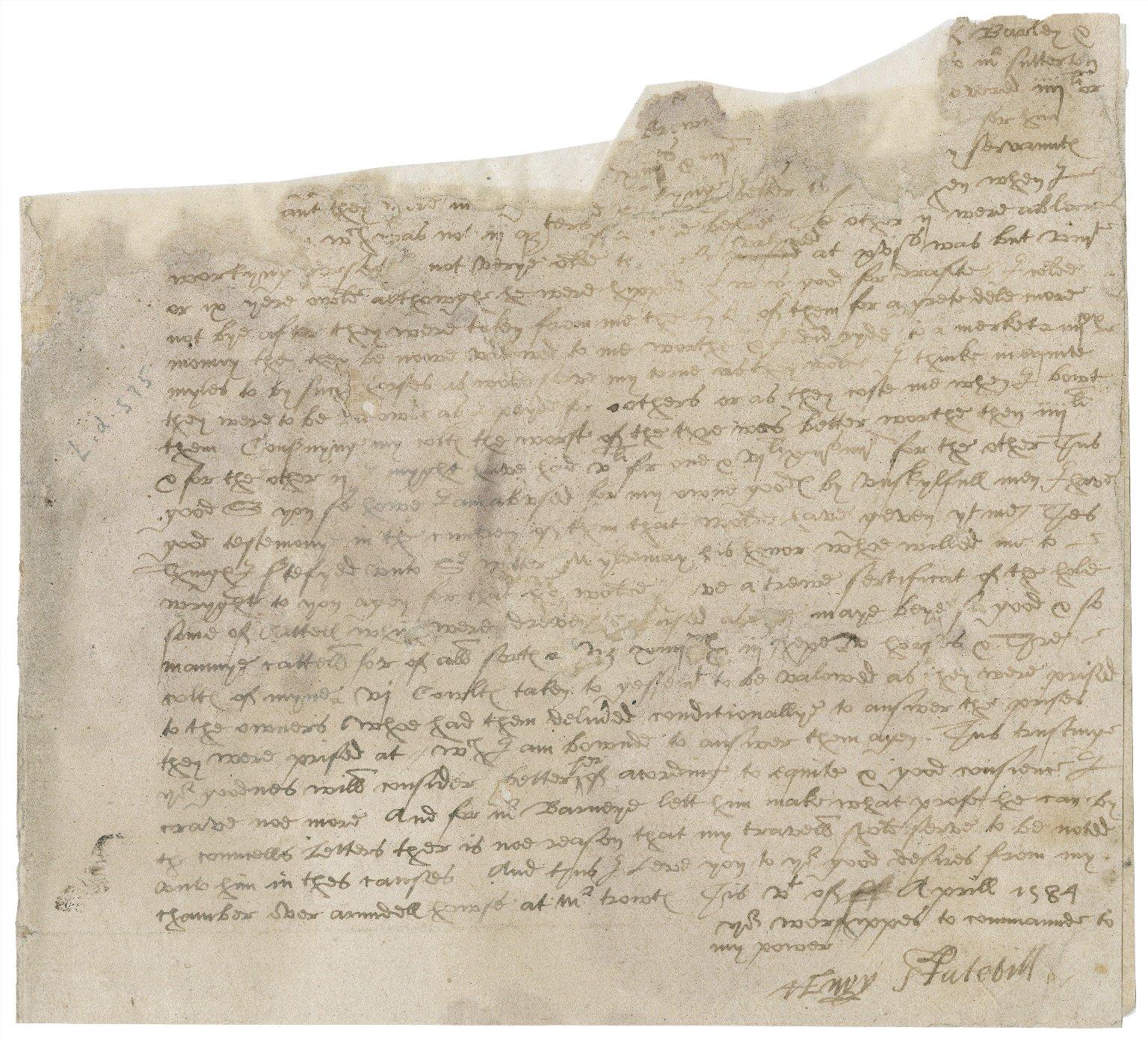Letter from Henry Stutevile [i.e. Stutfield] to [Nathaniel Bacon and William Blennerhassett] : fragment