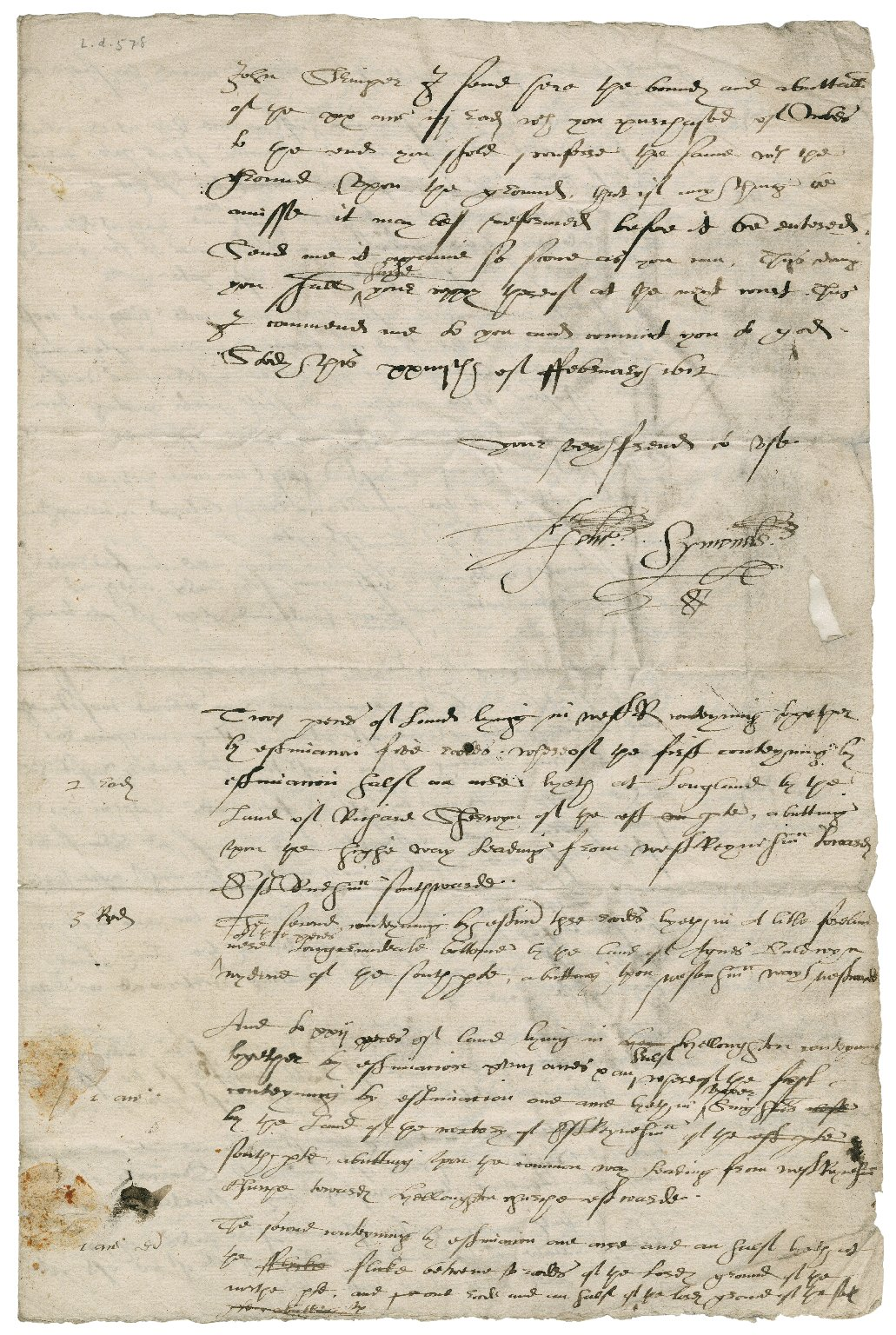 Letter from Edward Symonds [i.e. Simens] to John Stringer
