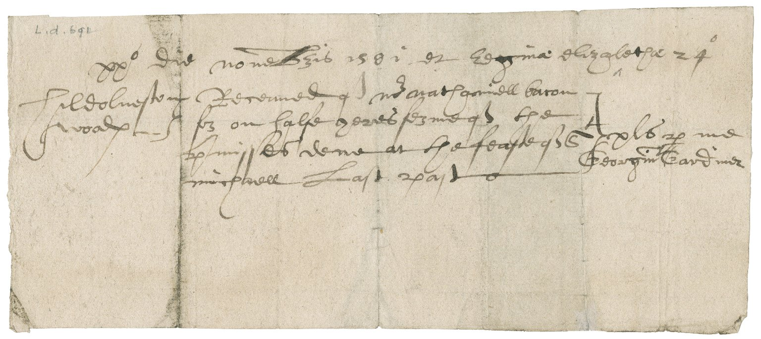 Receipt for rents paid from George Gardiner, Dean of Norwich Cathedral to Nathaniel Bacon