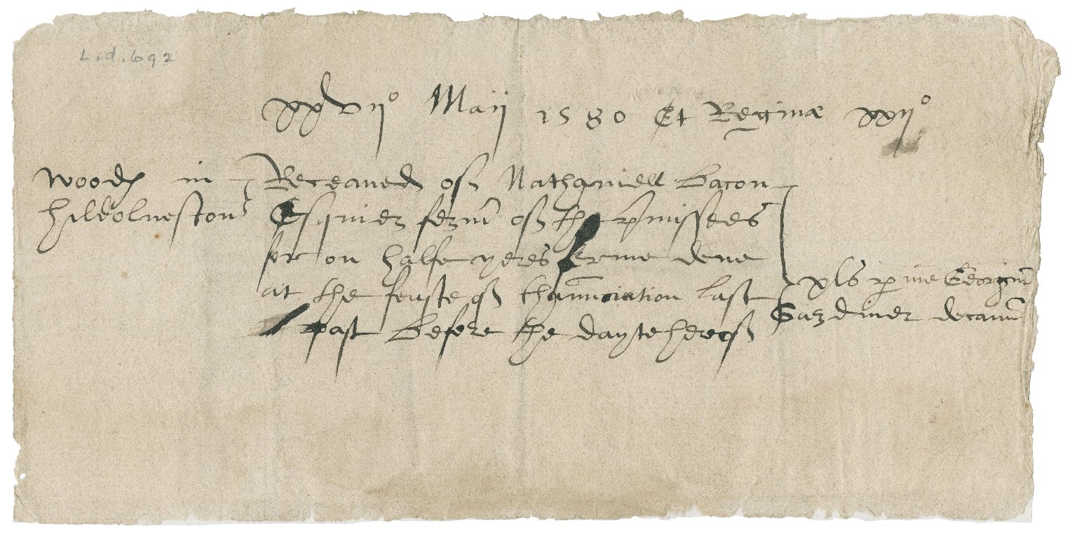 Receipt for rents paid from Nathaniel Bacon to George Gardiner, Dean of Norwich Cathedral