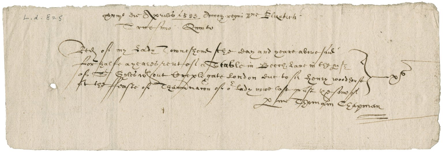 Receipts for stable rent in London from Sir Henry Woodhouse and others to Lady Jane (Stanhope) Townshend