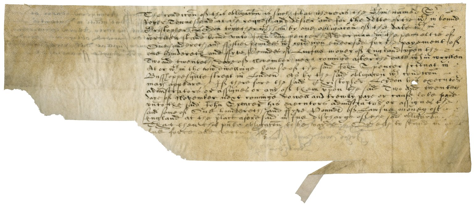 Bond from Sir Roger Townshend (1543?-1590) to Sir Christopher Heydon