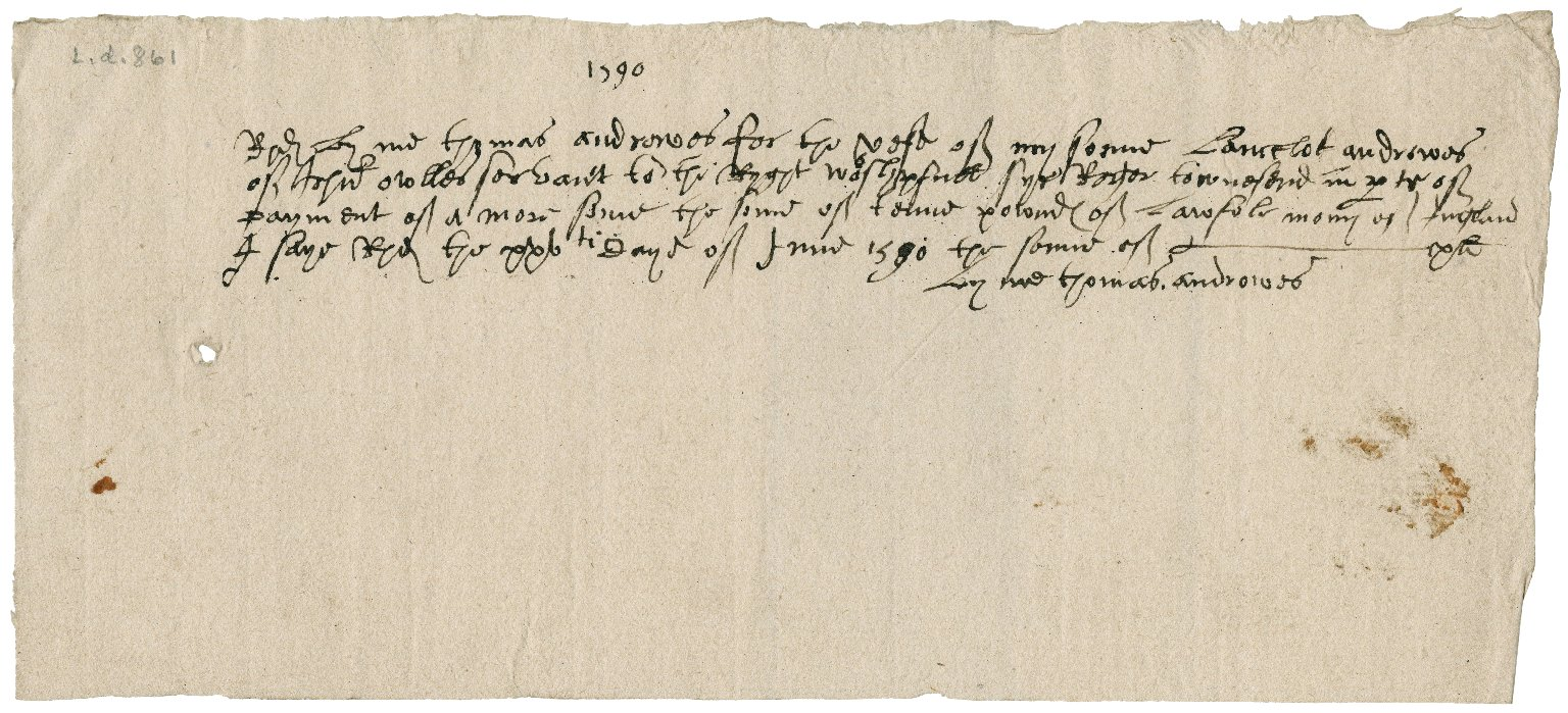 Receipt of Thomas Andrewes to Sir Roger Townshend (1543?-1590)