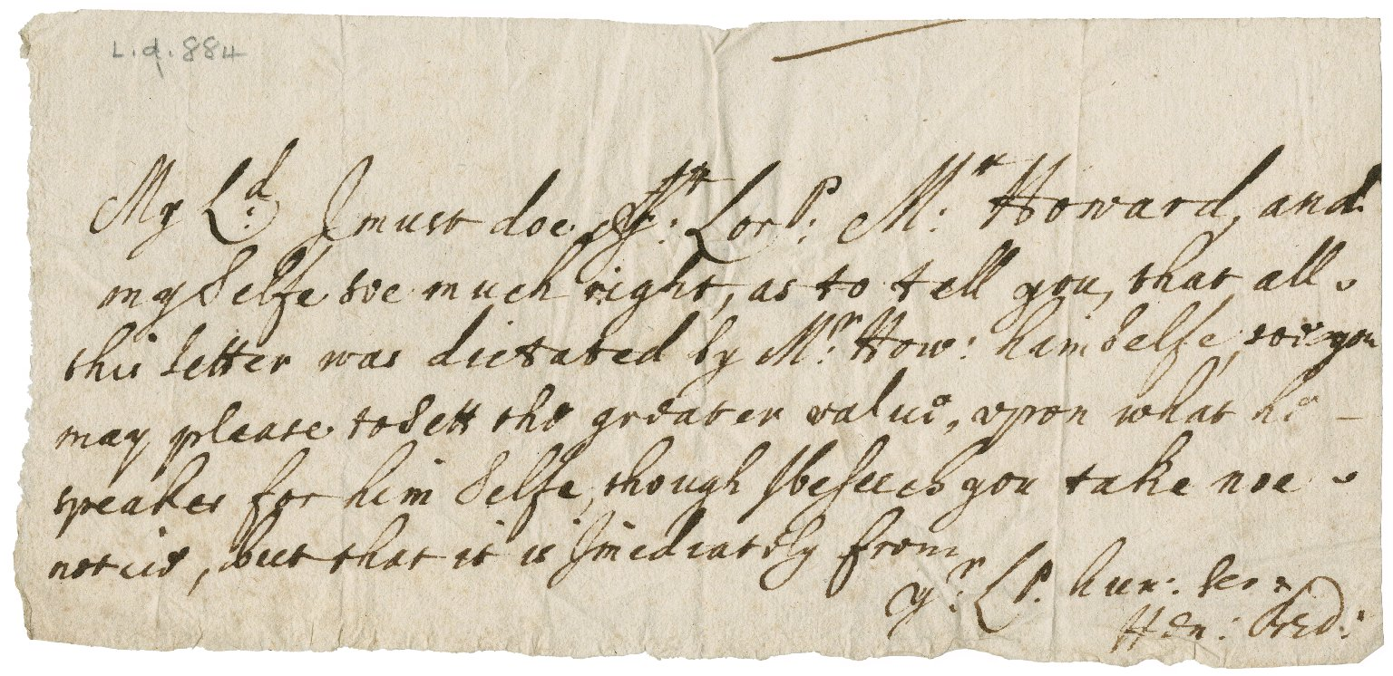 Note from Henry Bedingfield[?] to an unknown Lord