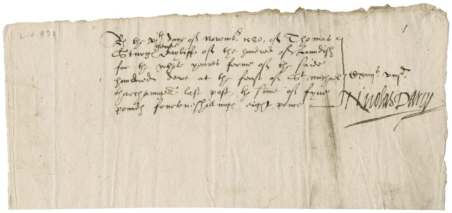 Receipts from Thomas Sturge, bailiff, for Nicholas Darcy