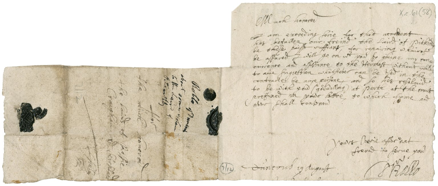 Letter from Rollo of Duncrub to the lairds of Rossie, Craighall, and Kirkland, Duncrub