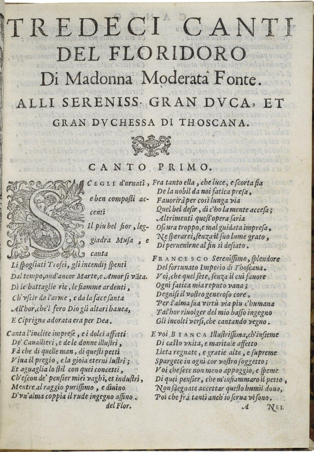 Tredici canti del Floridoro / di mad. Moderata Fonte ; alli sereniss. gran duca, et gran duchessa di Thoscana.