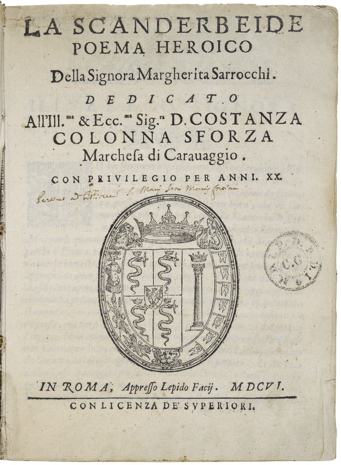 La Scanderbeide : poema heroico / della signora Margherita Sarrocchi.