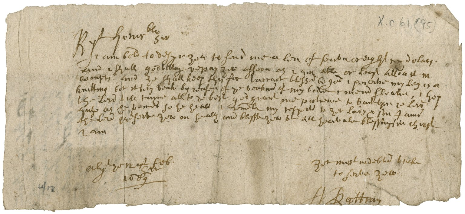 Letter from Rattray to Patrick Rattray of Craighall (nephew), Alyth