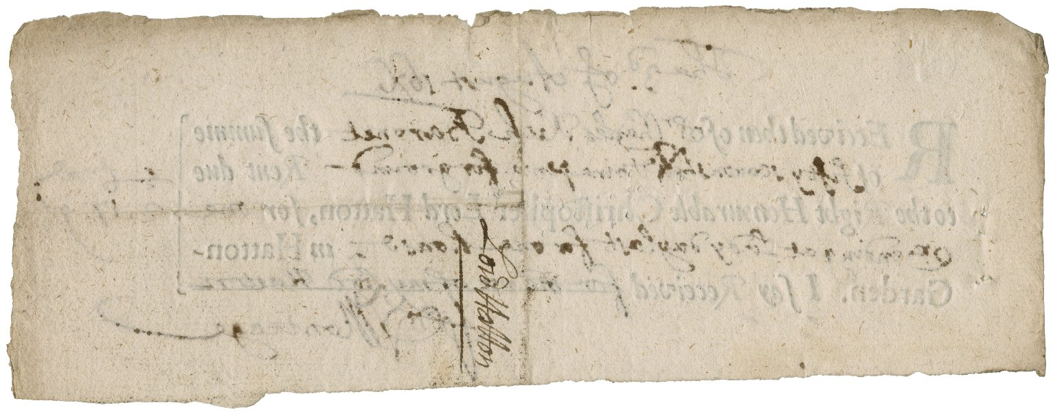 Receipts from the Earl of Salisbury, Christopher, Lord Hatton, and the collector of hearth taxes, to Sir Charles and his son-in-law, Sir Robert Rich