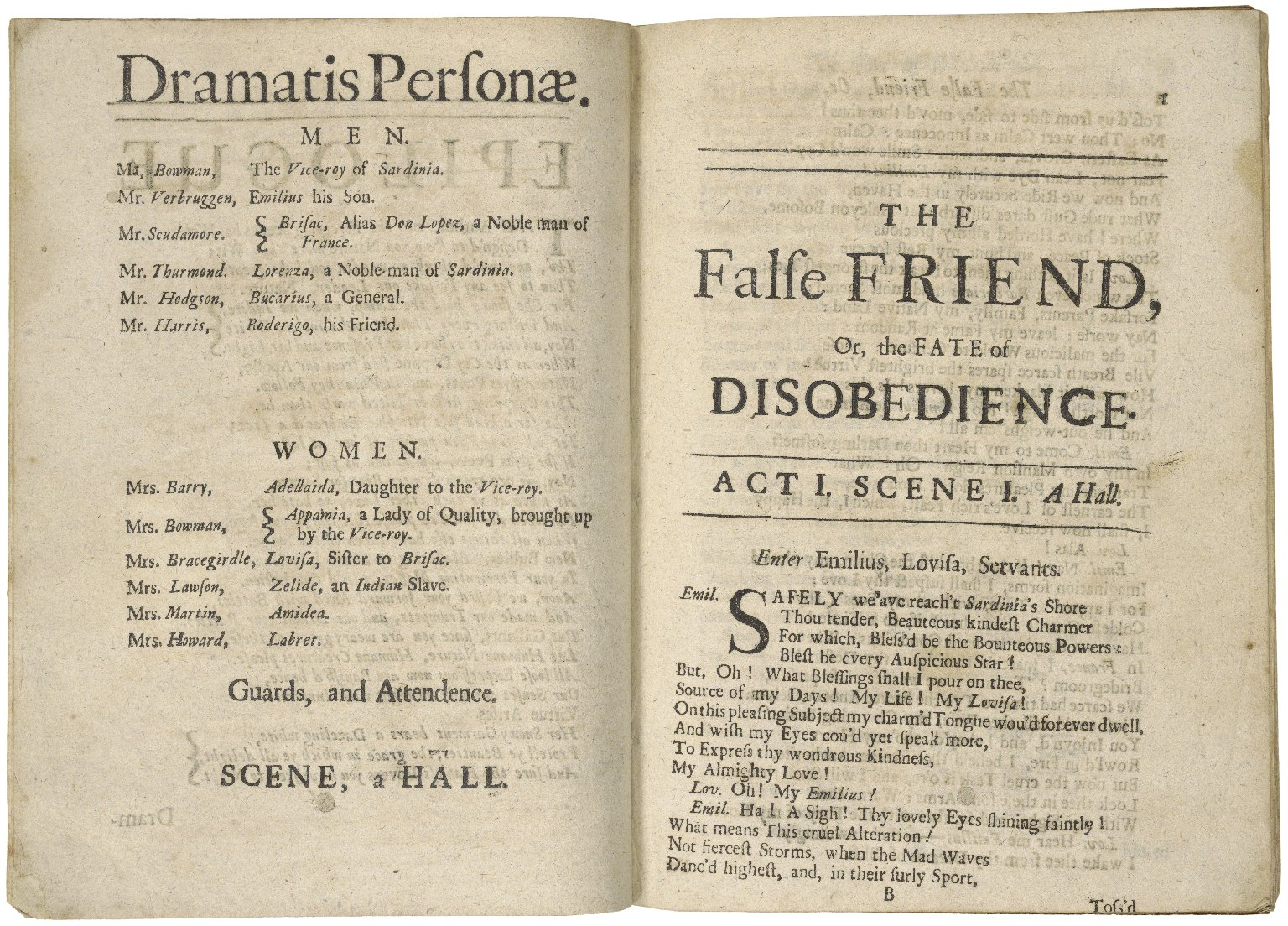 The false friend, or, the fate of disobedience· A tragedy: as it is acted at the New Theatre in Little Lincolns-Inn-Fields. Written by Mrs. Pix.