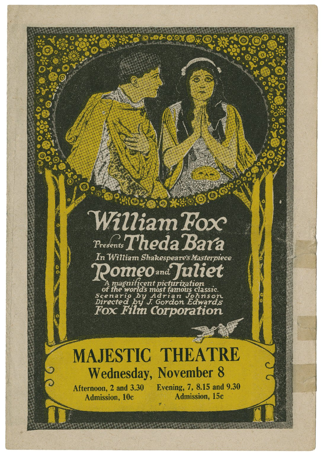 William Fox presents Theda Bara in William Shakespeare's masterpiece Romeo and Juliet.