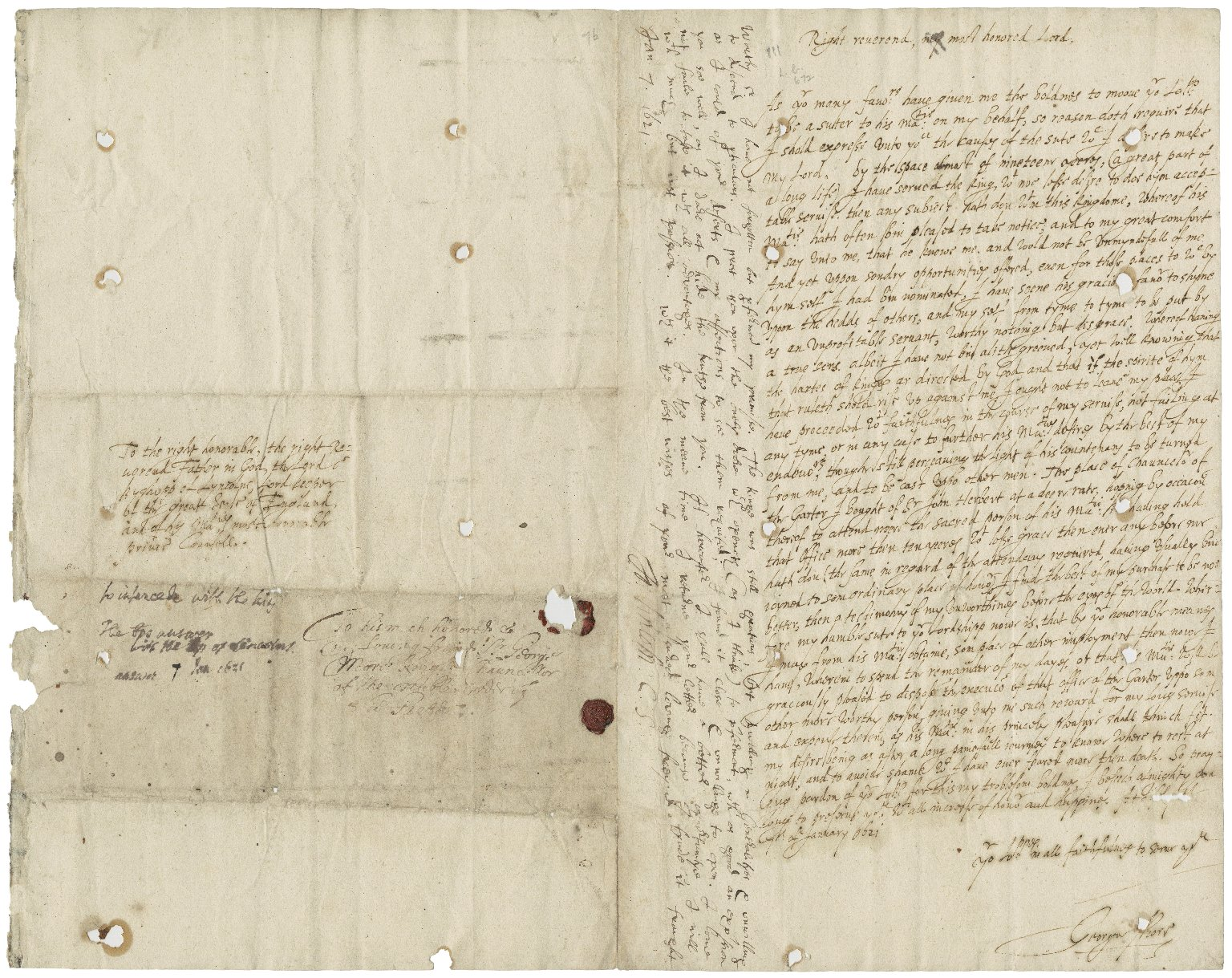 More, Sir George. Letter. To John Williams, Bishop of Lincoln, Lord Keeper.