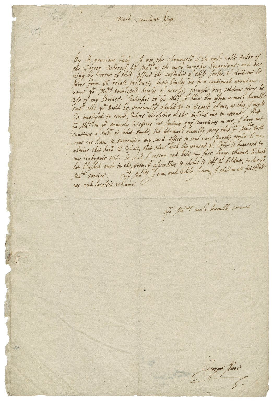 More, Sir George. Petition to the king, James I, in More's autograph.