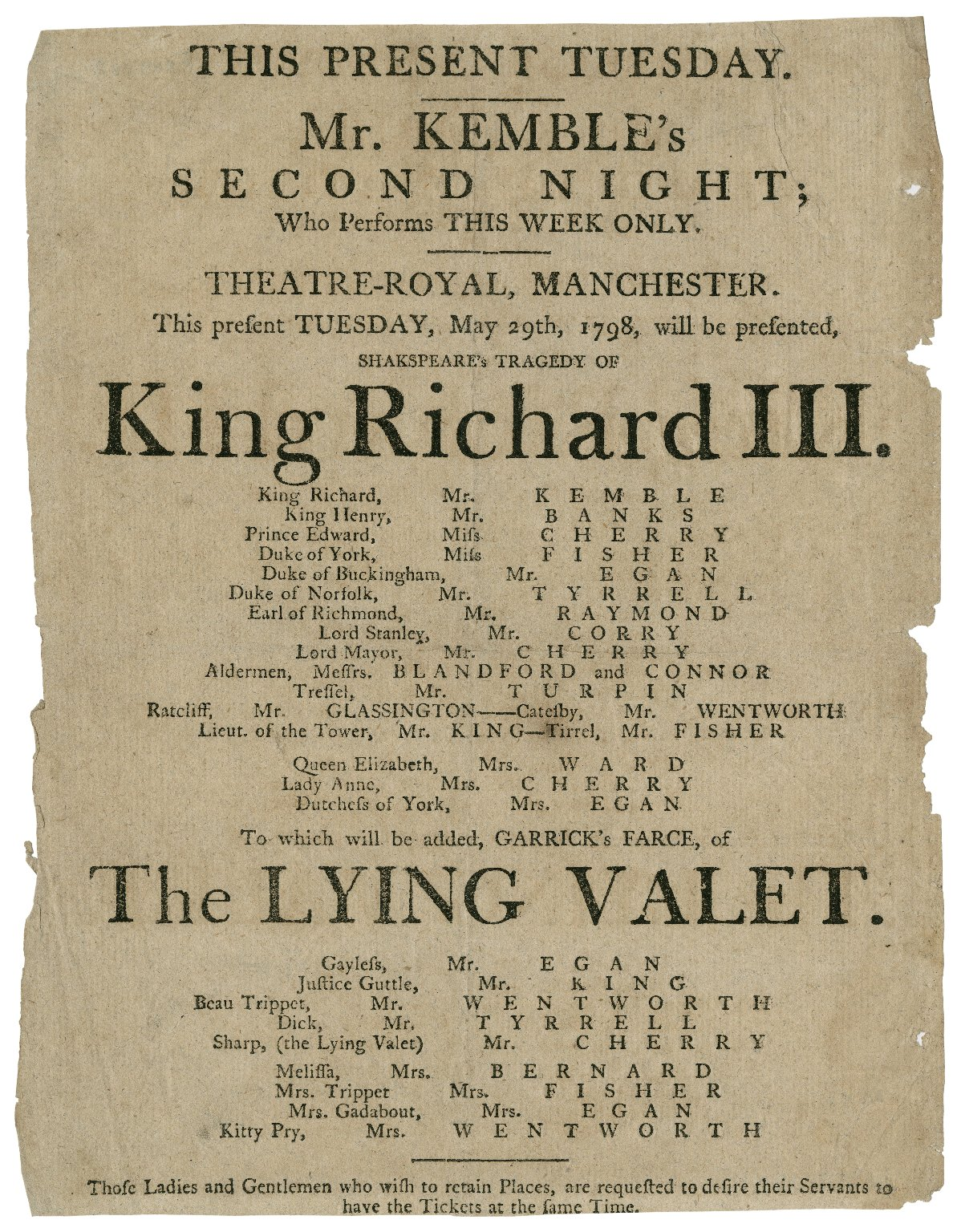 Playbill for King Richard III and The Lying Valet