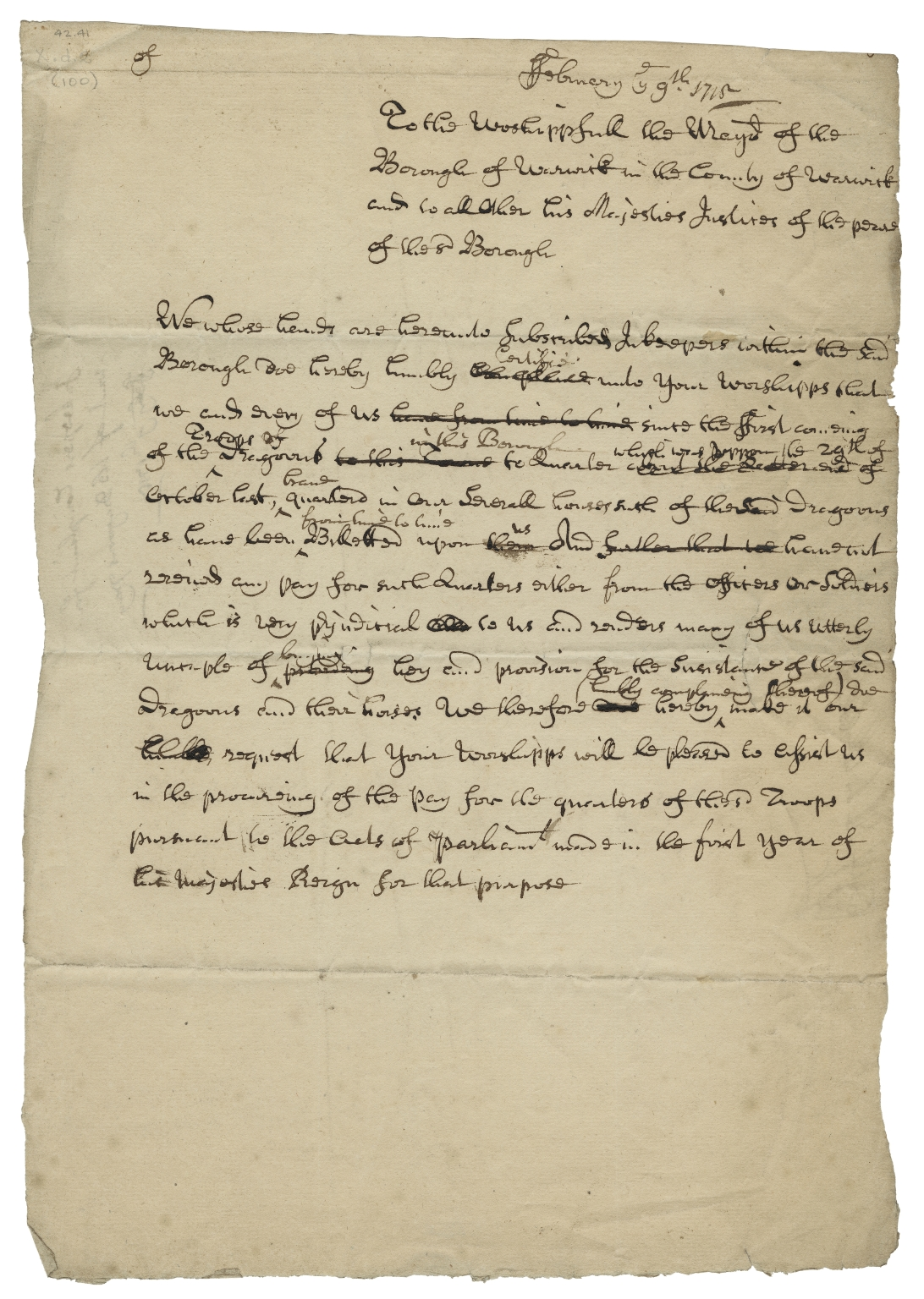 Letters concerning the quartering of dragoons in the town