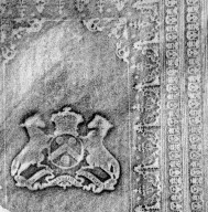 Rubbing of coat of arms and tooling (detail), STC 16613 c.4.