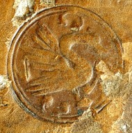 Rondel with swan stamp (detail), INC J467.