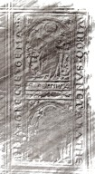 Black and white rubbing of front cover, STC 15258.