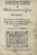 [Midsummer night's dream] A midsommer nights dreame.