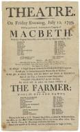 Playbill for Macbeth, July 12, 1799