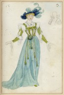 Costume for Ada Rehan in the character of Princess of France [in Augustin Daly's production of Love's Labour's Lost]