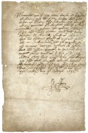 Autograph receipt signed: receipt for £11 [manuscript]: from Edward Alleyn of London, gent., his brother, August 24, 1592