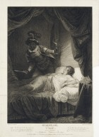 Othello, act V, scene II, a bedchamber, Desdemona in bed, asleep ... [graphic] / painted by J. Graham ; engraved by W. Leney.