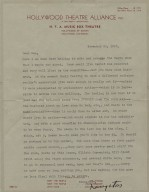 Typed letter signed [manuscript] from Hollywood, CA, to theater critic Dan Burley, Nov. 26, 1940.