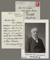 Letter to Mrs. H.C. Folger recto, envelope and photograph