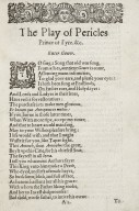 [Pericles] The late, and much admired play, called Pericles, Prince of Tyre…