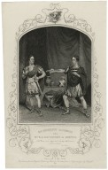 """Mr. Macready as Cassius and Mr. E.I. Davenport as Brutus, Cas.: """"There is my dagger and here my naked breast"""" Julius Caesar, [by Shakespeare], act 4, sc. 3 [graphic] / engraved by Hollis ; the former from an original picture by Reid the latter from a daguerreotype by Mayall."""