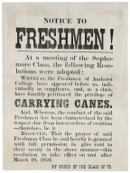 Amherst flier granting freshmen permission to carry canes