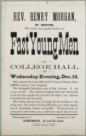 """Flier for a lecture by Rev. Henry Morgan on """"Fast Young Men"""""""