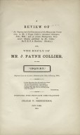 """A Review of """"An Inquiry."""" Also, the Reply of Mr. J. Payne Collier"""