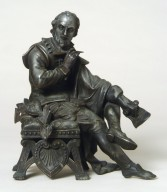William Shakespeare spelterware figure seated on stool, holding pen in right hand.