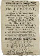 Drury Lane Playbill: Tempest and Harlequin Ranger