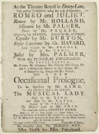 Playbill: Romeo and Juliet and the Musical Lady