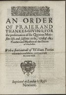 An order of praier and thankes-giuing, for the preseruation of the Queenes Maiesties life and salfetie...