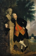 David Garrick leaning on a bust of Shakespeare